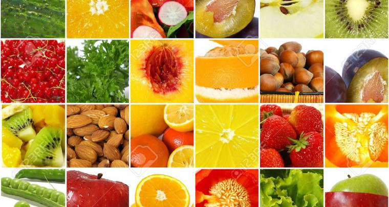 food industry, nutrition, fruits, vegetables, collage