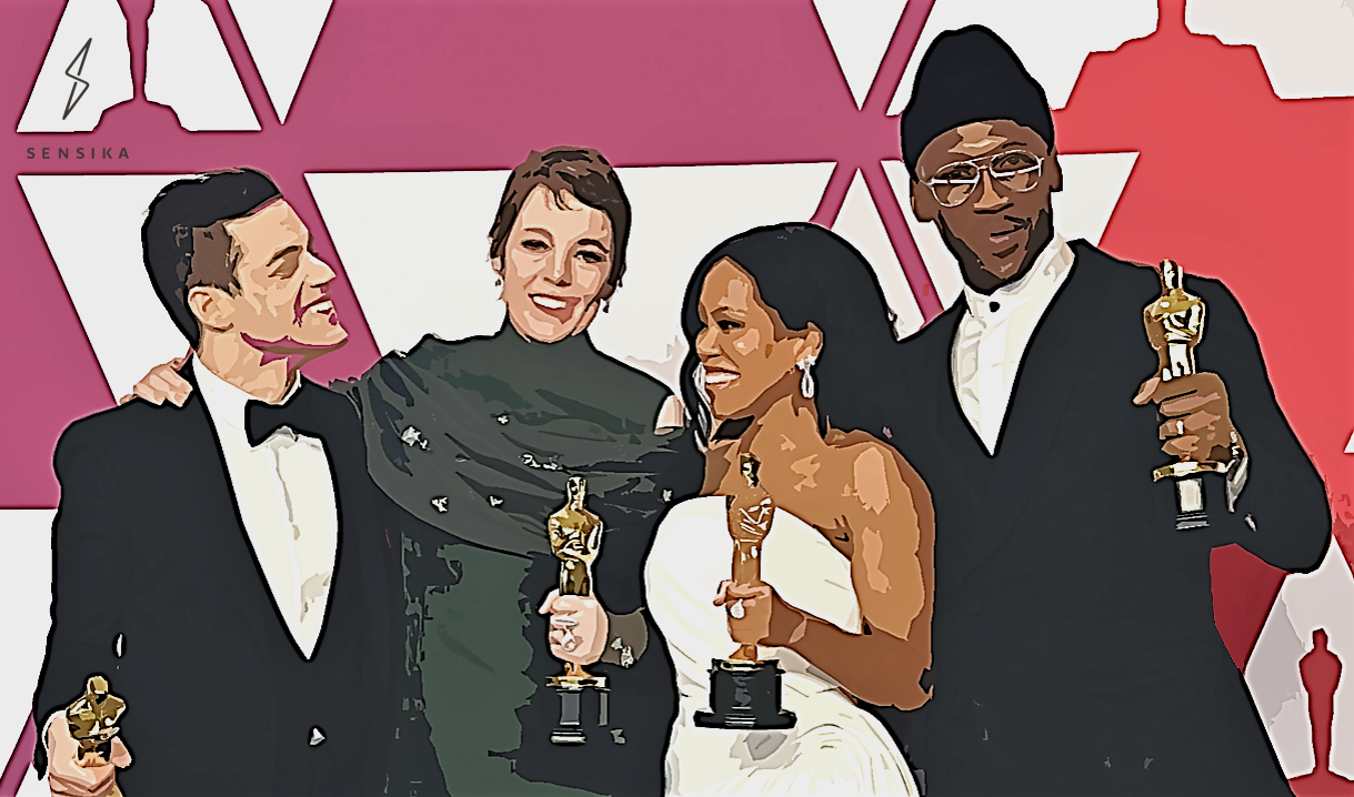 Academy Award winners in the acting categories, including Rami Malek, Olivia Colman, Regina King and Mahershala Ali, pose after receiving their trophies.